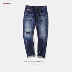 Newin - Paint Splattered Slim-Fit Jeans