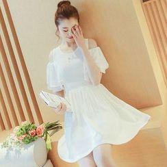 EFO - Cutaway-Shoulder Ruffled A-Line Dress