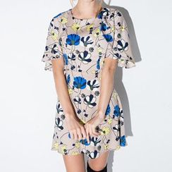 Richcoco - Printed Frilled Sleeve Dress