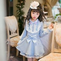 Candy Rain - Kids Bow Accent Collared Long Sleeve Dress