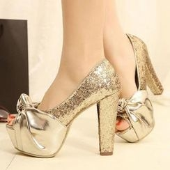 Mancienne - Knot-Accent Glittered Platform Pumps