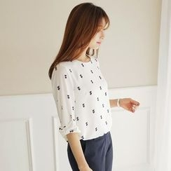 CLICK - Elbow-Sleeve Pattern Blouse