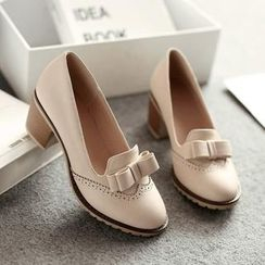 Pastel Pairs - Bow Chunky Heel Loafers