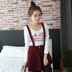 Mini Jule - Zip-Front Suspenders Skirt