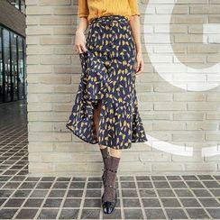 Seoul Fashion - Button-Detail Pattern Midi Skirt