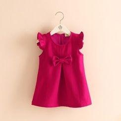 Seashells Kids - Kids Bow Detail Ruffle Trim Sleeveless Dress