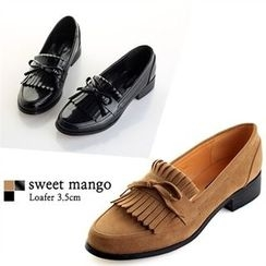 SWEET MANGO - Beribboned Fringed Loafers
