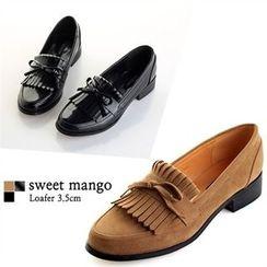 SWEET MANGO - Beribboned Fringed Loafers
