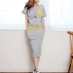 Everose - Set: Contrast-Pocket T-Shirt + Camisole + Midi Skirt