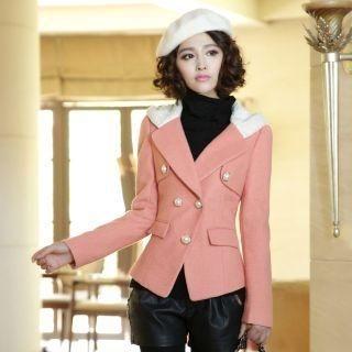 Mooiee - Wool-Blend Bead-Button Hooded Jacket