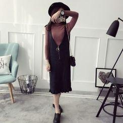 Qimi - V-neck Frill Hem Strap Knit Dress