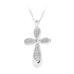BELEC - 925 Sterling Silver Flower-shaped Cross Pendant with White Cubic Zircon and Necklace