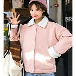 Oaksa - Fleece Collar Applique Jacket