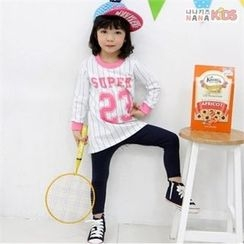 nanakids - Girls Lettering Striped Long T-Shirt