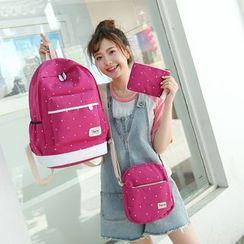 Seok - 套装: 圆点帆布背包 + 斜挎包 + 手拿包