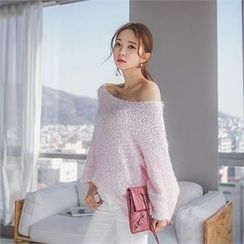 ERANZI - Round-Neck Bouclé-Knit Top