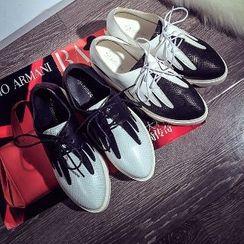Mancienne - Mesh Panel Platform Oxford Shoes