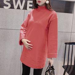 Dadada - Maternity Plain Mock Neck Long Sweater