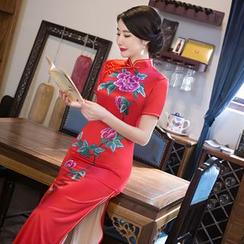 Janelle Qipao - Floral Print Short-Sleeve Maxi Cheongsam