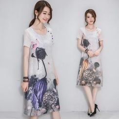 Diosa - Short-Sleeve Print Chiffon Dress