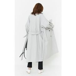 Someday, if - Double-Breasted Long Trench Coat with Sash