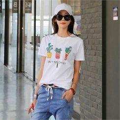 CHICFOX - Cactus-Printed T-Shirt