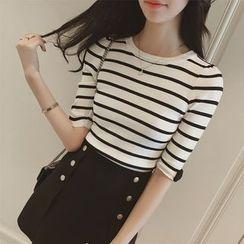 Diado - Stripe Elbow-Sleeve Knit Top