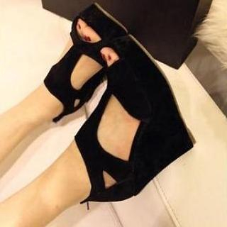 Open-Toe T-Strap Wedges
