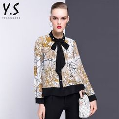 Y:Q - Tie-Neck Printed Blouse
