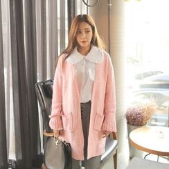 Cherryville - Open-Front Rib-Knit Long Cardigan