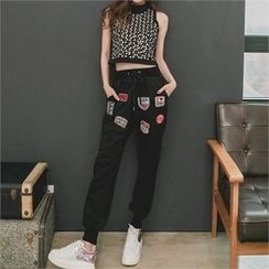 clubber - Band-Waist Appliqué Pants