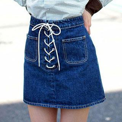 Amella - Tied Denim Mini Skirt