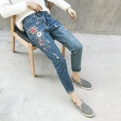 GAGAI - Embroidered Skinny Jeans