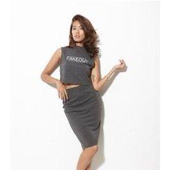 SPIRALGIRL - Set: Sleeveless Lettering Top + Pencil Skirt