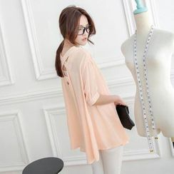 Tokyo Fashion - Elbow-Sleeve Cross-Back Chiffon Shirt