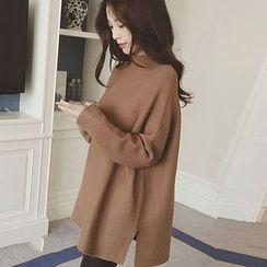 Romantica - Long-Sleeve Plain Long Sweater