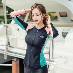 Shanyoo - Set: Color Panel Rashguard + Tankini Top + Swim Pants