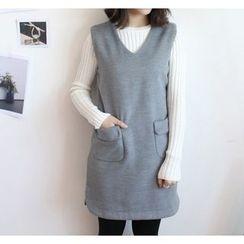 Mixmind Studio - V-Neck Pocketed Woolen Tank Dress