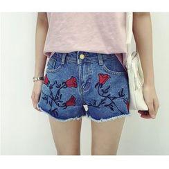 HazyDazy - Embroidered Denim Shorts