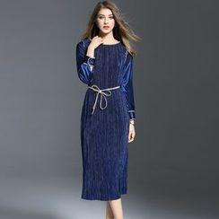 Elabo - Long-Sleeve Pleated Midi Dress