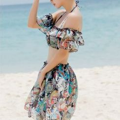 Seabird - Set: Print Bikini + Off-Shoulder Cropped Cover-Up Top + Skirt