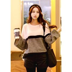 DEEPNY - Wide-Sleeve Color-Block Sweater