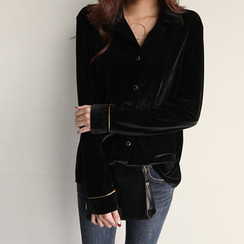 NIPONJJUYA - Notched-Collar Velvet Blouse