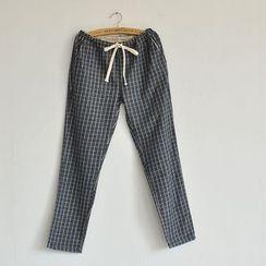 PANDAGO - Check Drawstring Pants