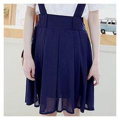 Sechuna - Suspender A-Line Chiffon Skirt