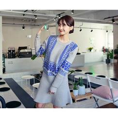 HOTPING - Ruffle-Hem Pattern Knit Dress