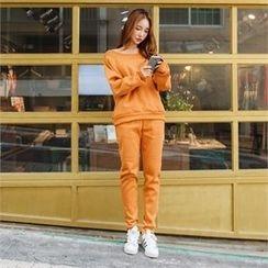 clicknme - Set: Off-Shoulder Brushed-Fleece Lined Sweatshirt + Sweatpants