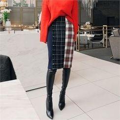 LIPHOP - Check Pencil Skirt
