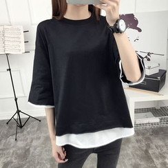 Ukiyo - Mock Two-Piece Elbow-Sleeve T-Shirt