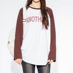 Heynew - Lettering Raglan Long-Sleeve T-Shirt